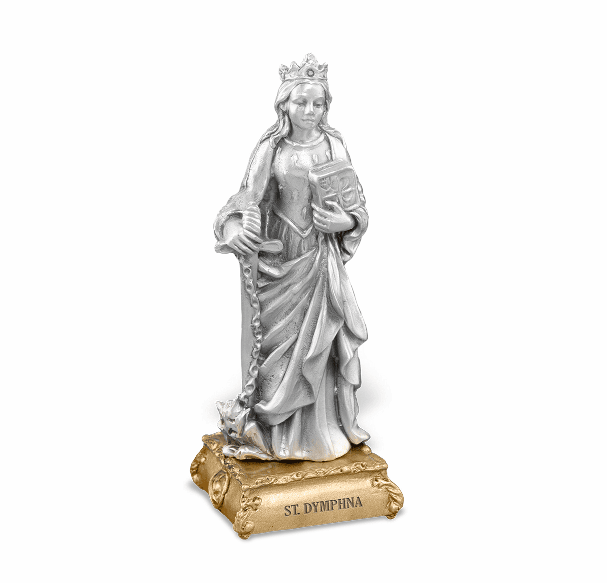 St Dymphna Patron Saint Pewter Statue on Gold Tone Base by Hirten