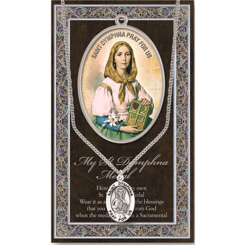 St Dymphna Pewter Patron Saint Medal Necklace with Prayer Pamphlet by Hirten