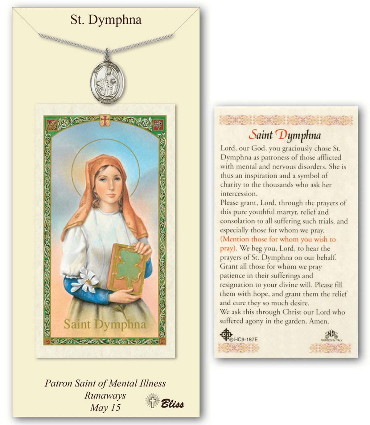 Bliss St Dymphna Prayer Card & Pendant Gift Set