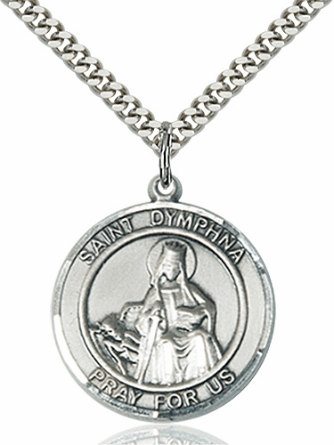 St Dymphna Round Patron Saint Medal Necklace by Bliss