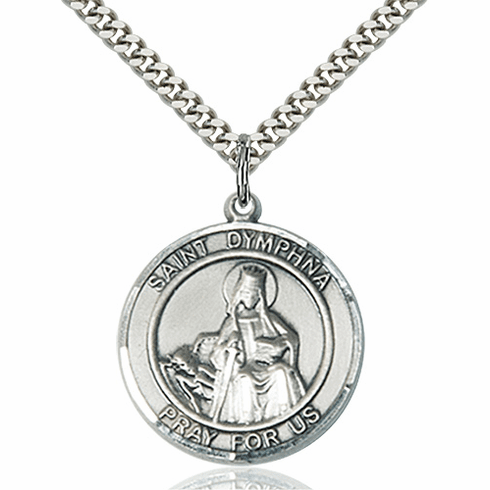 St Dymphna Round Sterling Silver Patron Saint Medal Necklace by Bliss