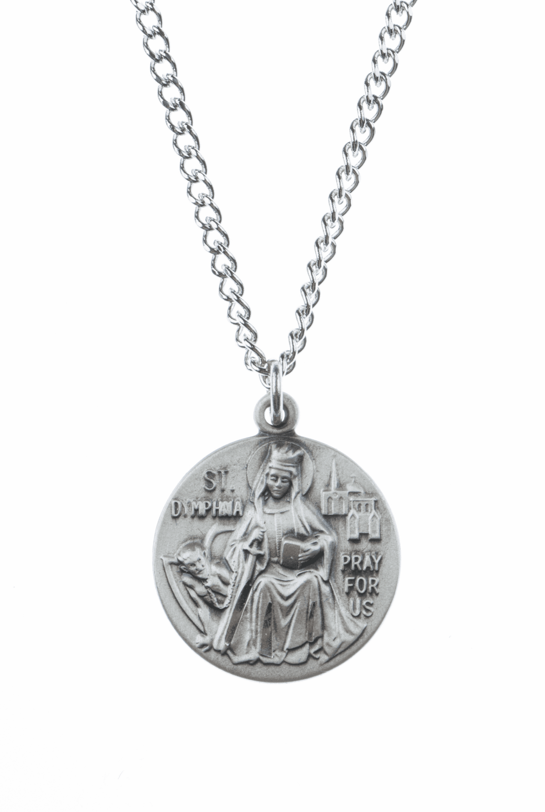"St Dymphna Saint Medal Pendant w/18"" Chain by Jeweled Cross"