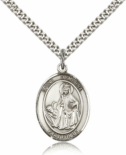 St Dymphna Sterling-Filled Patron Saint Medal Necklace by Bliss Manufacturing