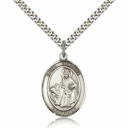 St Dymphna Sterling-Filled Patron Saint Medal Necklace by Bliss Mfg