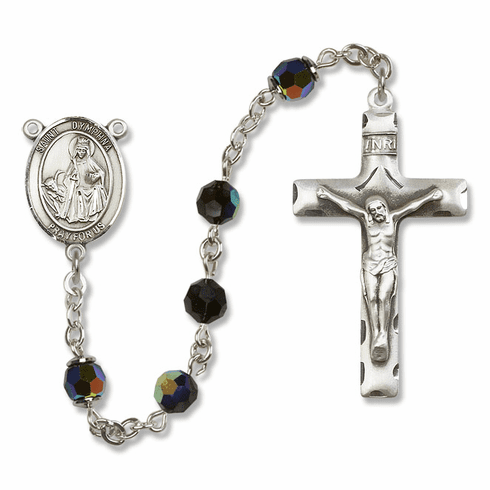 Saint Dymphna Crystal Sterling Silver and Gold Rosaries - More Colors