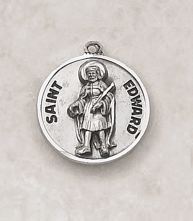 St Edward Sterling Patron Saint Medal w/Chain by Creed Jewelry