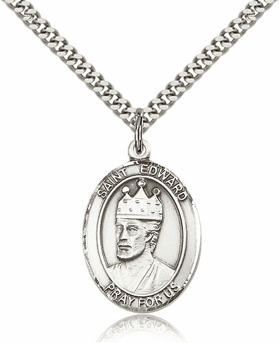 St Edward the Confessor Silver-Filled Patron Saint Necklace by Bliss
