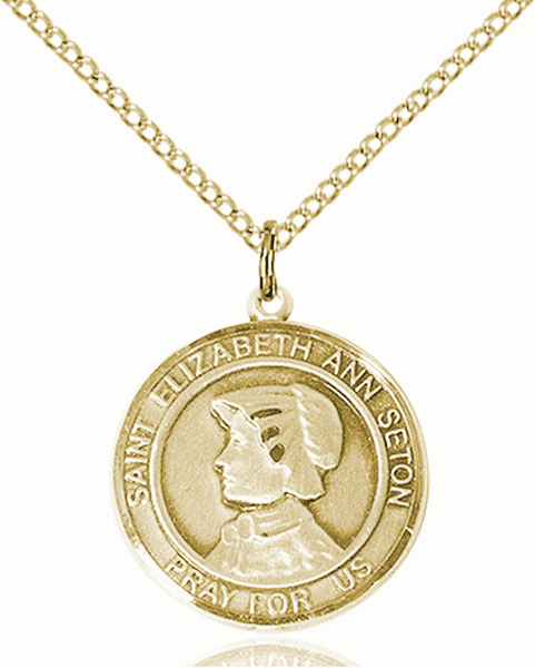 St Elizabeth Ann Seton Medium Patron Saint 14kt Gold-filled Medal by Bliss