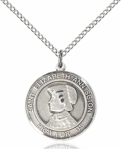 St Elizabeth Ann Seton Medium Patron Saint Silver-filled Medal by Bliss