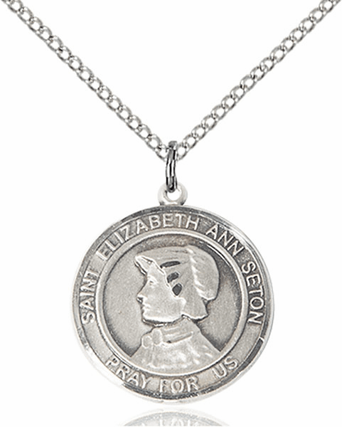 St Elizabeth Ann Seton Medium Patron Saint Sterling Silver Medal by Bliss