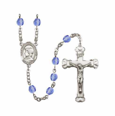 St Elizabeth Ann Seton Patron Saint Birthstone Fire Polished Crystal Prayer Rosary