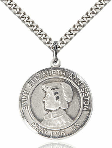 St Elizabeth Ann Seton Round Patron Saint Medal Necklace by Bliss