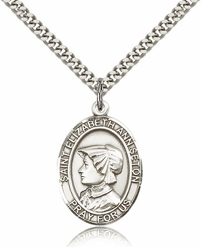 St Elizabeth Ann Seton Sterling-Filled Patron Parton Saint Medal Necklace by Bliss