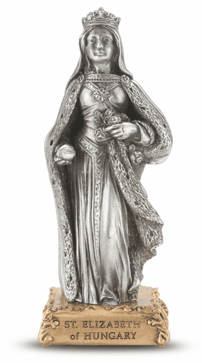 St Elizabeth of Hungary Pewter Statue on Gold Tone Base by Hirten