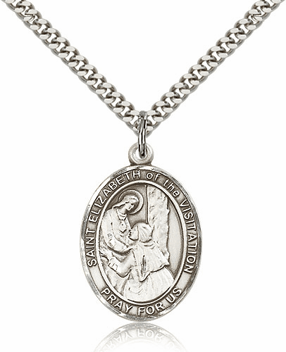 St Elizabeth of the Visitation Sterling Silver Saint Medal Necklace by Bliss