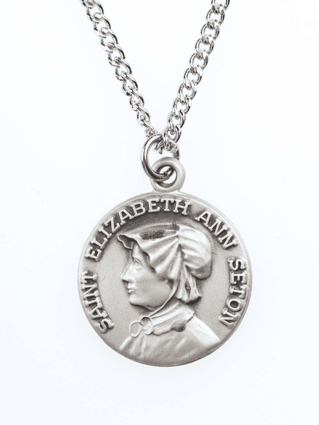 "St Elizabeth Seton Saint Medal Pendant w/18"" Chain by Jeweled Cross"