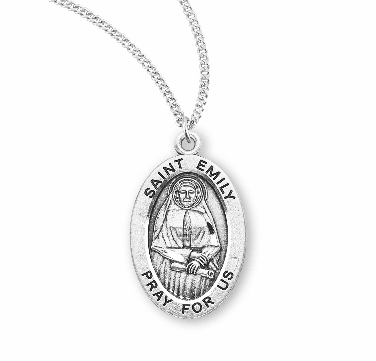 HMH Religious St Emily Catholic Patron Oval Saint Sterling Silver Medal Necklace