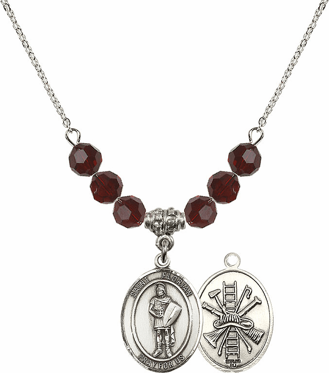 St Florian Fire Fighters/Fireman Garnet Swarovski Necklace by Bliss Mfg