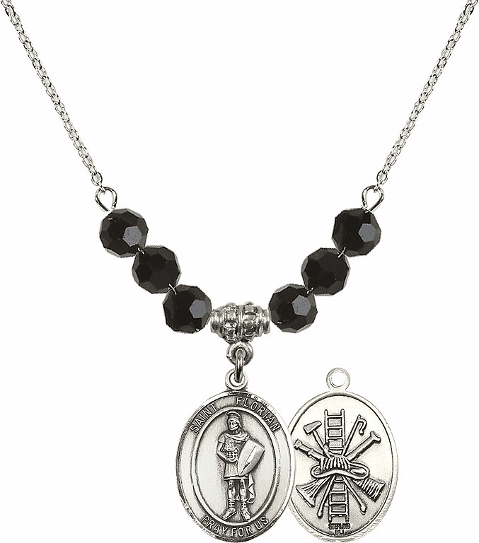 St Florian Fire Fighters/Fireman Jet Black Swarovski Necklace by Bliss Mfg
