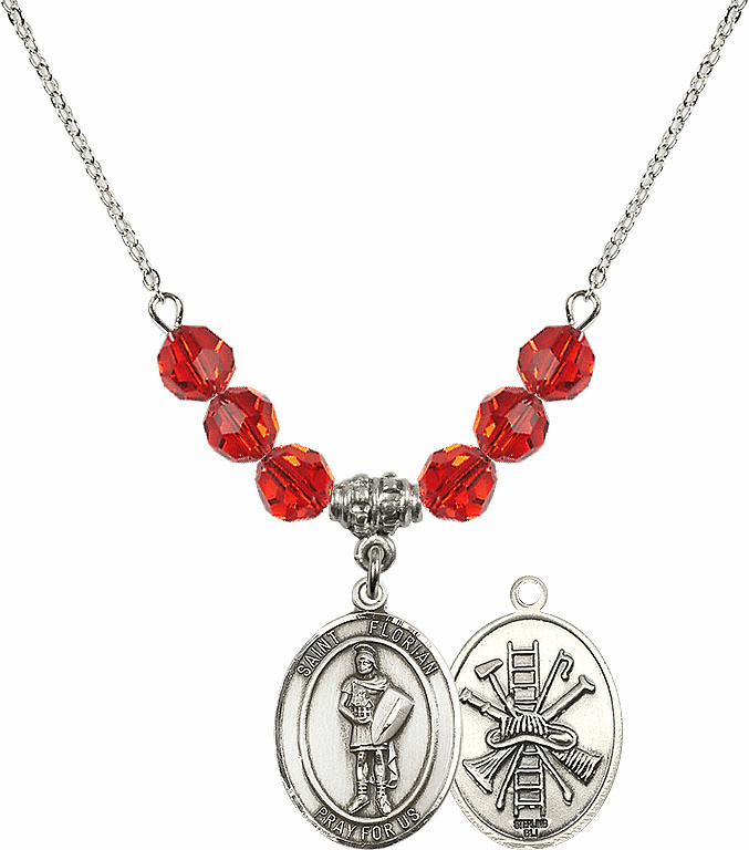 St Florian Fire Fighters/Fireman Ruby Swarovski Necklace by Bliss Mfg