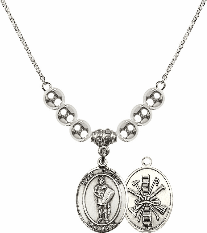 St Florian Fire Fighters/Fireman Silver Necklace by Bliss Mfg