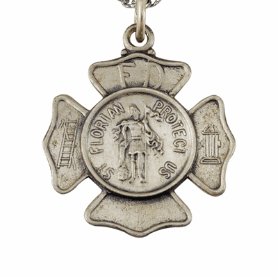St Florian Fire Fighters Sterling Medal Necklace by Singer