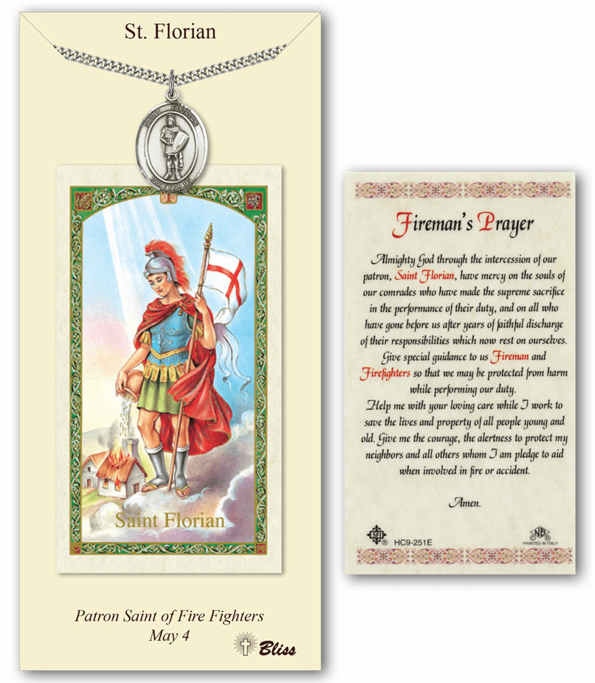 Bliss Mfg St Florian Fireman Prayer Card & Pendant Gift Set