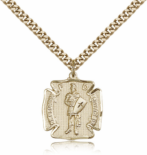 St Florian Gold Filled Patron Saint Pendant Necklace by Bliss