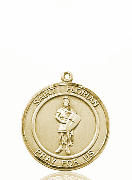 St Florian Large Patron Saint 14kt Gold Medal by Bliss