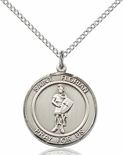 St Florian Medium Patron Saint Sterling Silver Medal by Bliss