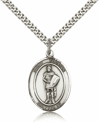 St Florian Patron Saint Sterling Silver Necklace by Bliss