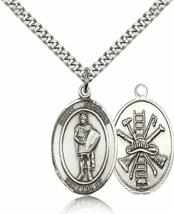 St Florian Pewter Patron Saint Medal Necklace by Bliss