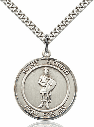 St Florian Round Patron Saint Medal Necklace by Bliss