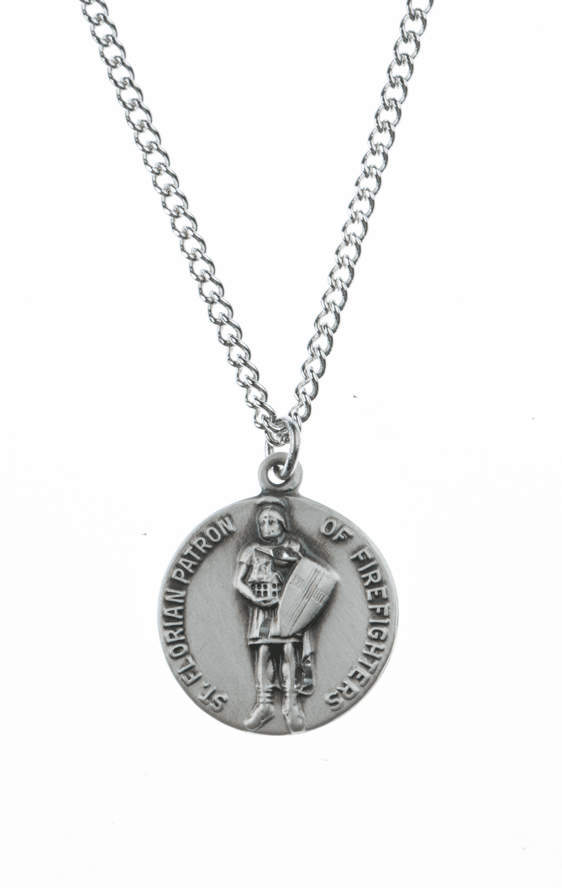 "St Florian Saint Medal Pendant w/18"" Chain by Jeweled Cross"