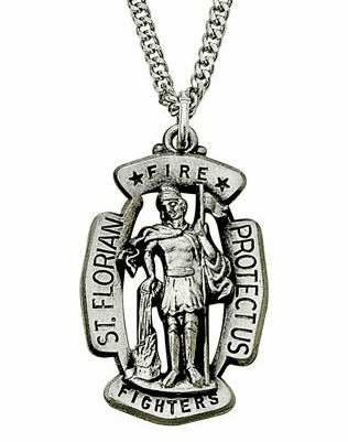 St Florian Shield Medal Patron of Fire Fighters Necklace