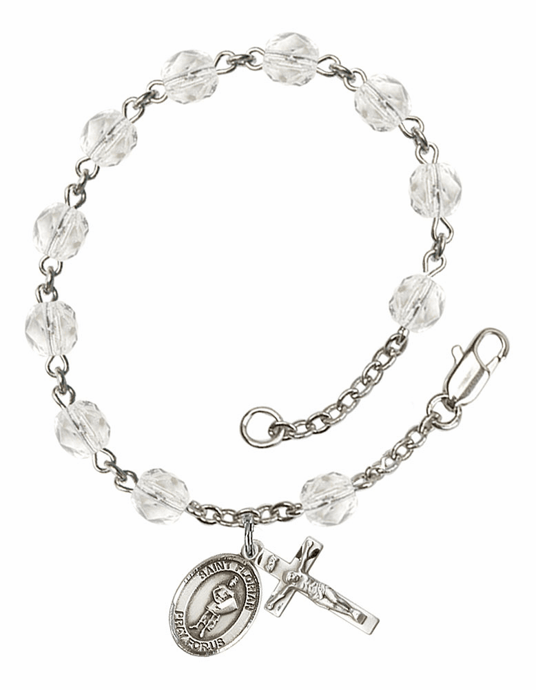 St Florian Silver Plate April Birthstone Rosary Bracelet by Bliss