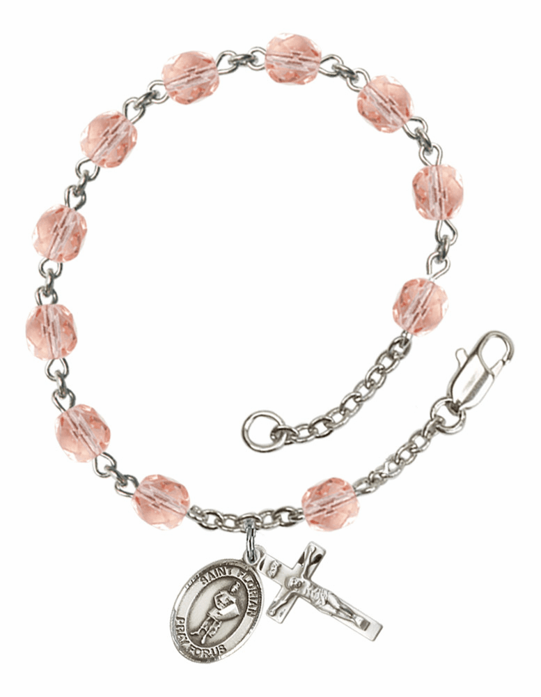 St Florian Silver Plate Rose Birthstone Rosary Bracelet by Bliss
