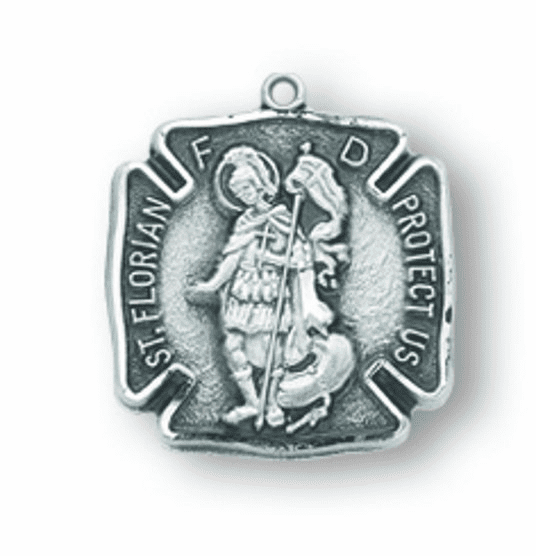 St. Florian Sterling Silver  Medal Necklace by HMH Religious