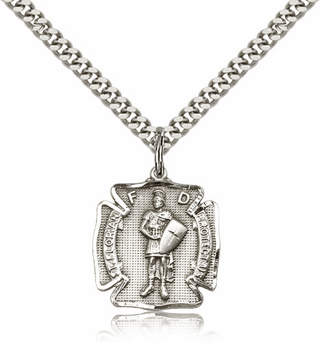 St Florian Sterling Silver Patron Saint Pendant Necklace by Bliss