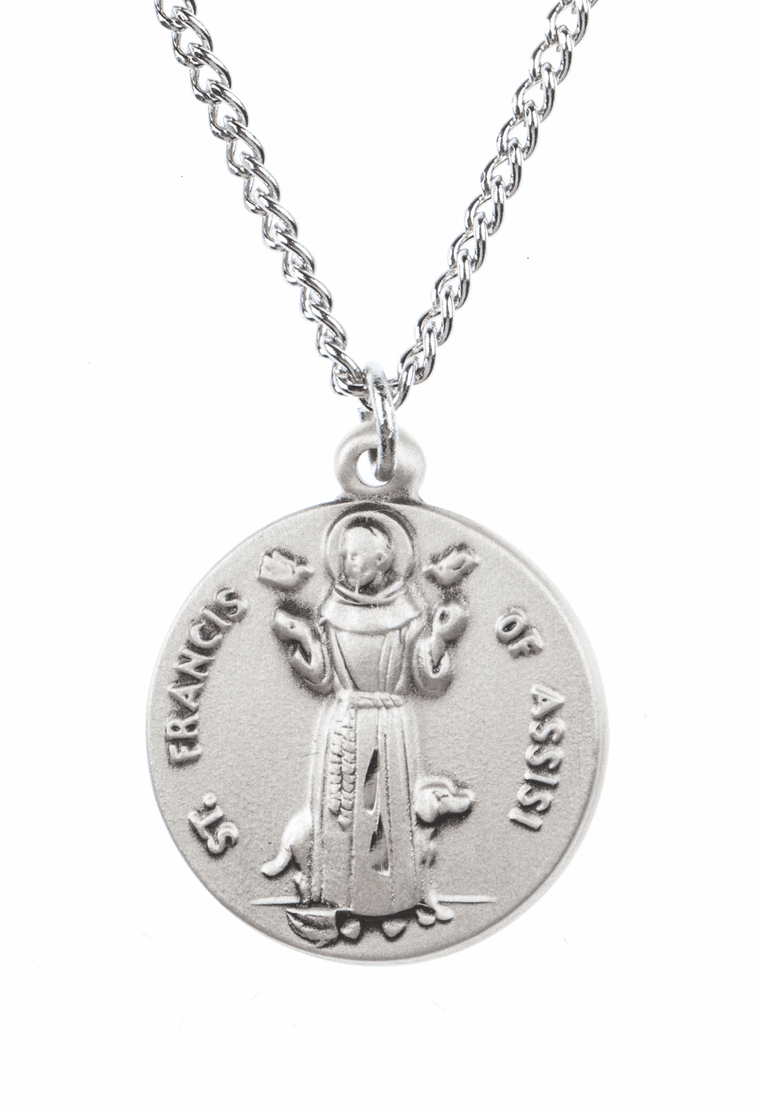 """St Francis Assisi Saint Medal Pendant w/18"""" Chain by Jeweled Cross"""