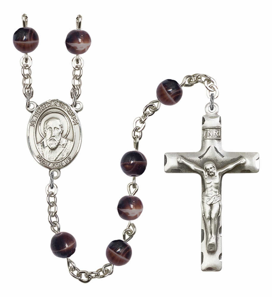 St Francis de Sales 7mm Brown Gemstone Rosary by Bliss