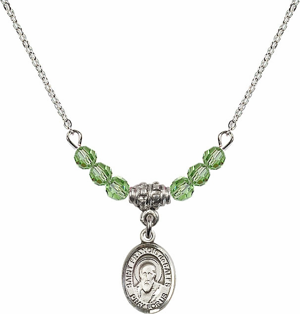 St Francis de Sales Aug/Peridot Beaded Necklace by Bliss Mfg