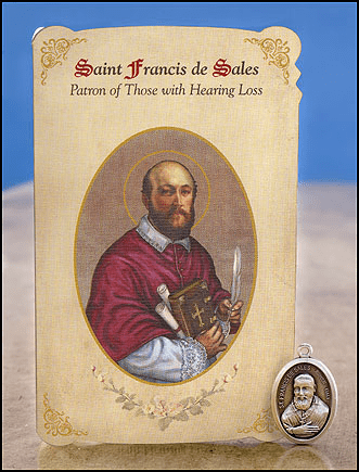 St Francis de Sales Hearing Loss Healing Holy Cards w/Medals 6 pcs by Milagros