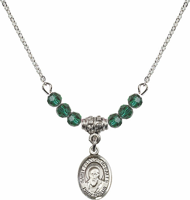 St Francis de Sales May/Emerald Beaded Necklace by Bliss Mfg