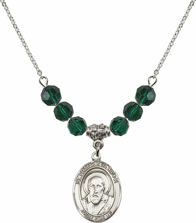 St Francis de Sales May/Emerald Swarovski Necklace by Bliss Mfg