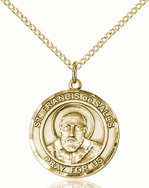 St Francis de Sales Medium Patron Saint 14kt Gold-filled Medal by Bliss