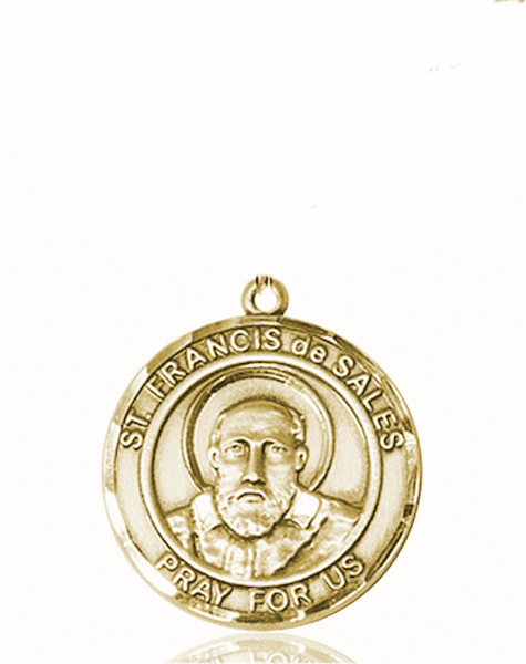 St Francis de Sales Medium Patron Saint 14kt Gold Medal by Bliss
