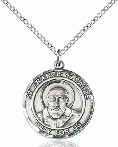 St Francis de Sales Medium Patron Saint Sterling Silver Medal by Bliss