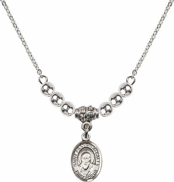 St Francis de Sales Silver Beaded Necklace by Bliss Mfg