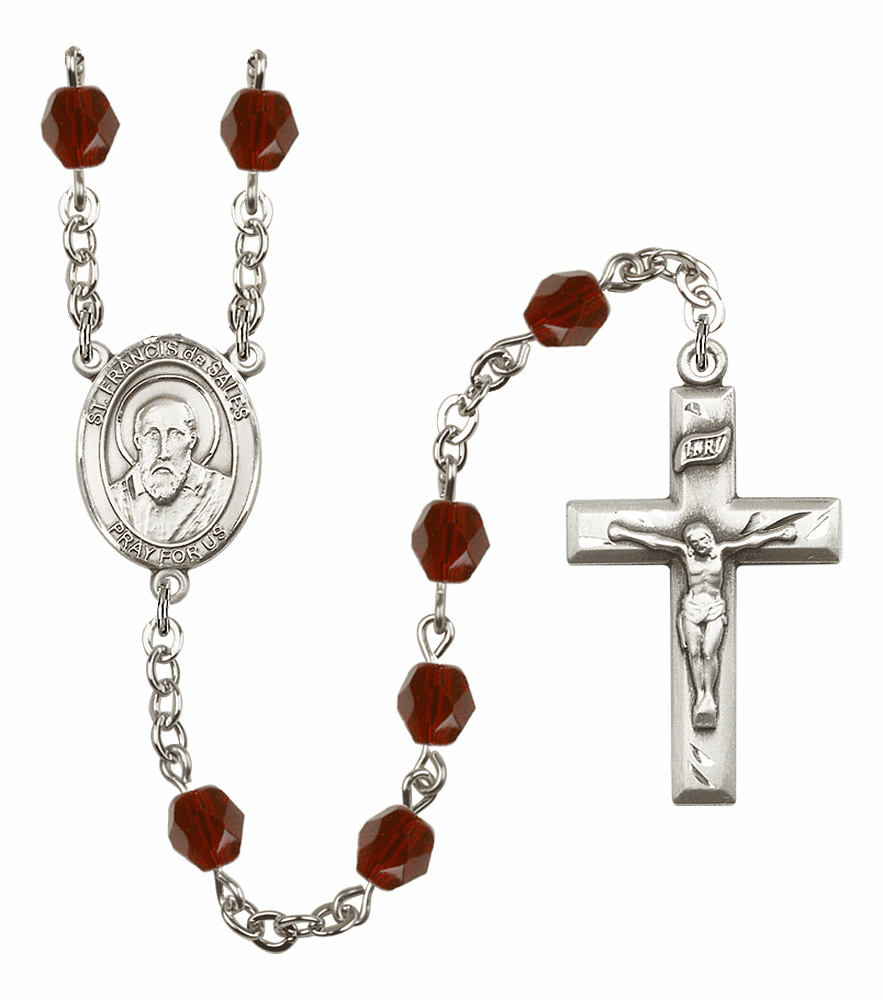 St Francis de Sales Silver Plate Birthstone Crystal Prayer Rosary by Bliss